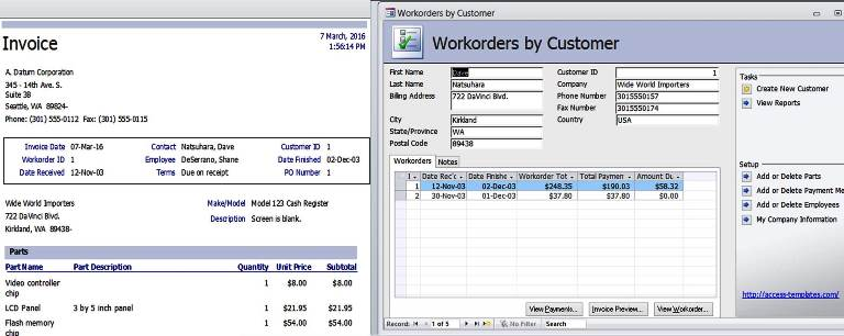 Access Templates Work Orders Invoice Services Management Database