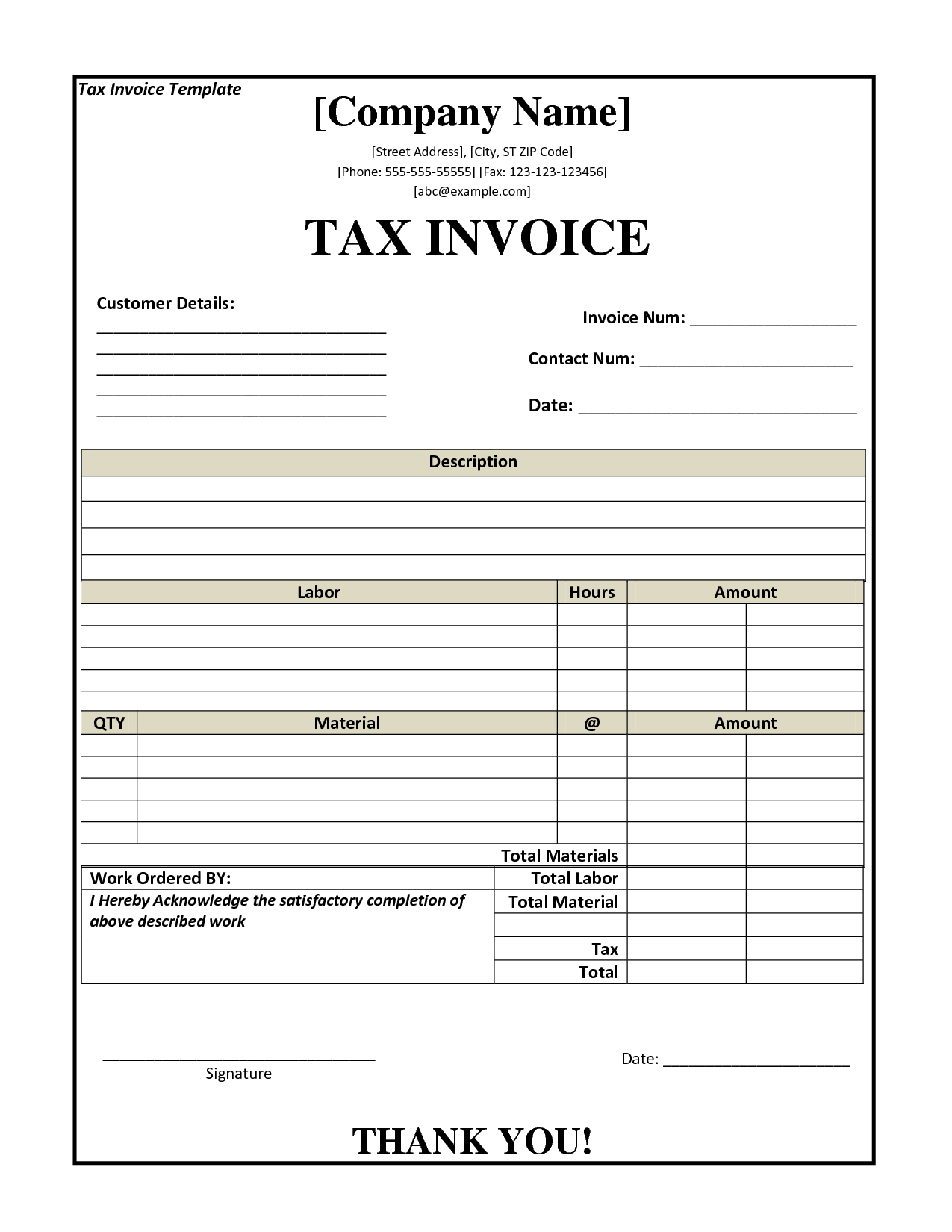 example of tax invoice – notators, Invoice examples