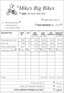 commercial invoice sample