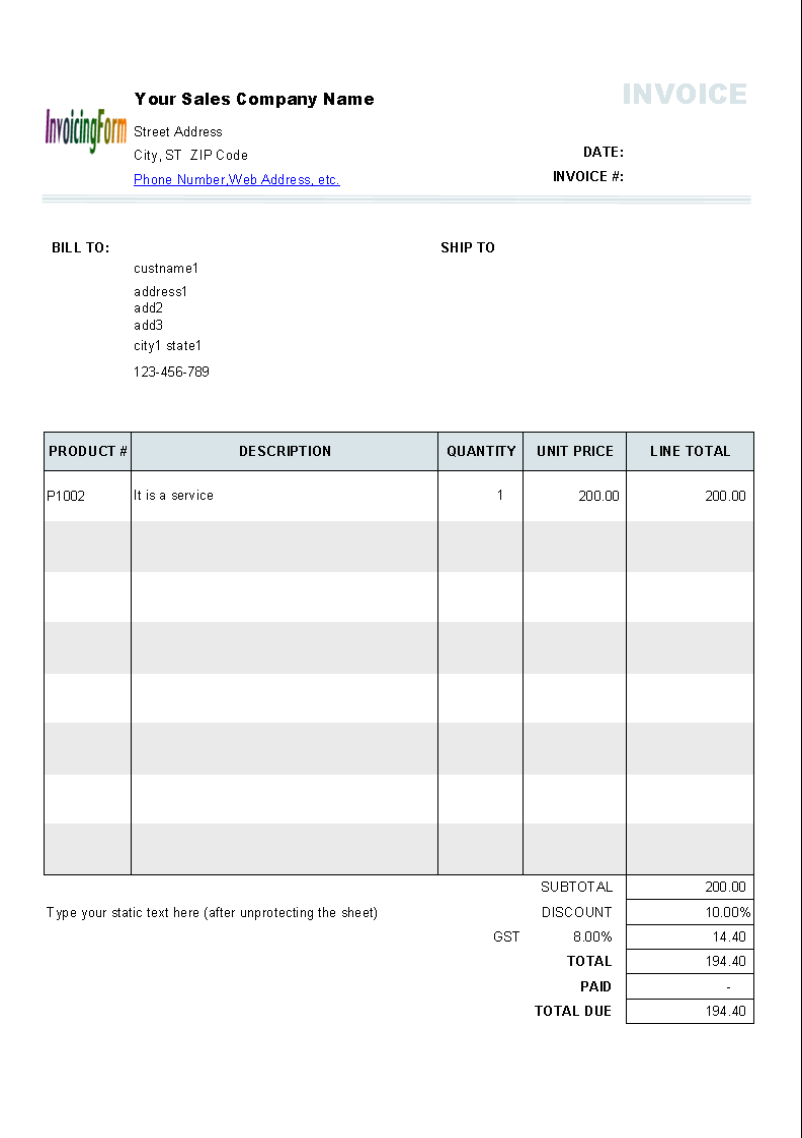 Australian Invoice Template Excel – Sample Invoice with Gst