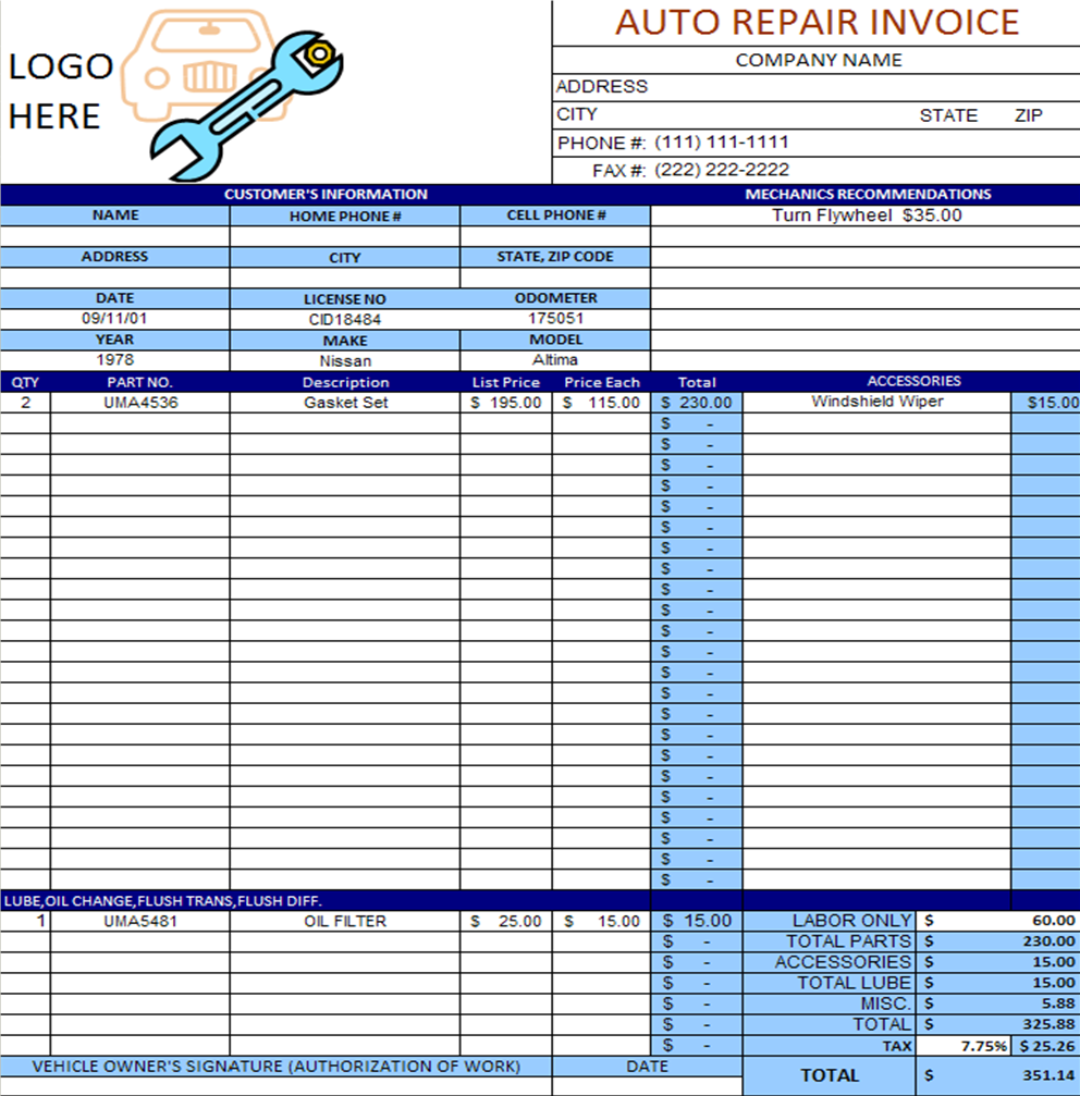 Auto Repair Invoice Template Excel Invoice Example - Repair invoices template free best online jewelry store