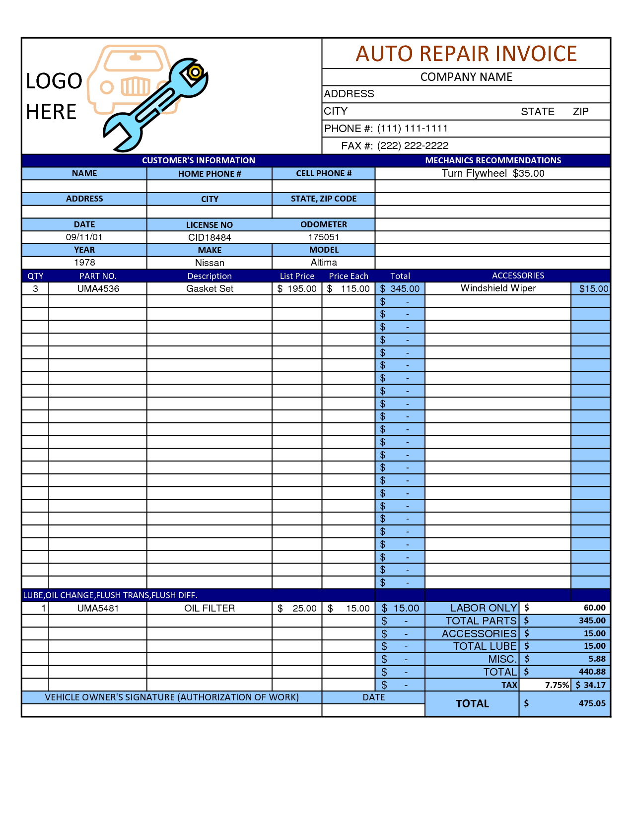 Auto Repair Invoice Template Word Invoice Example