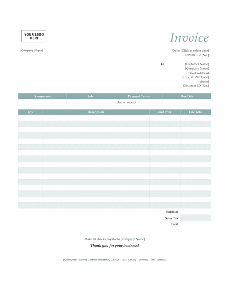 Doc.#572739: Word Template Invoice – Invoice Template for Word