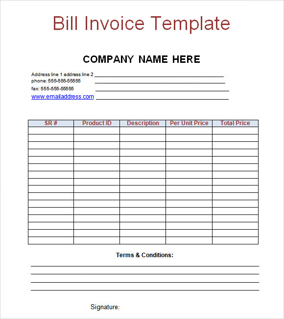 Billing Invoice Template for Excel