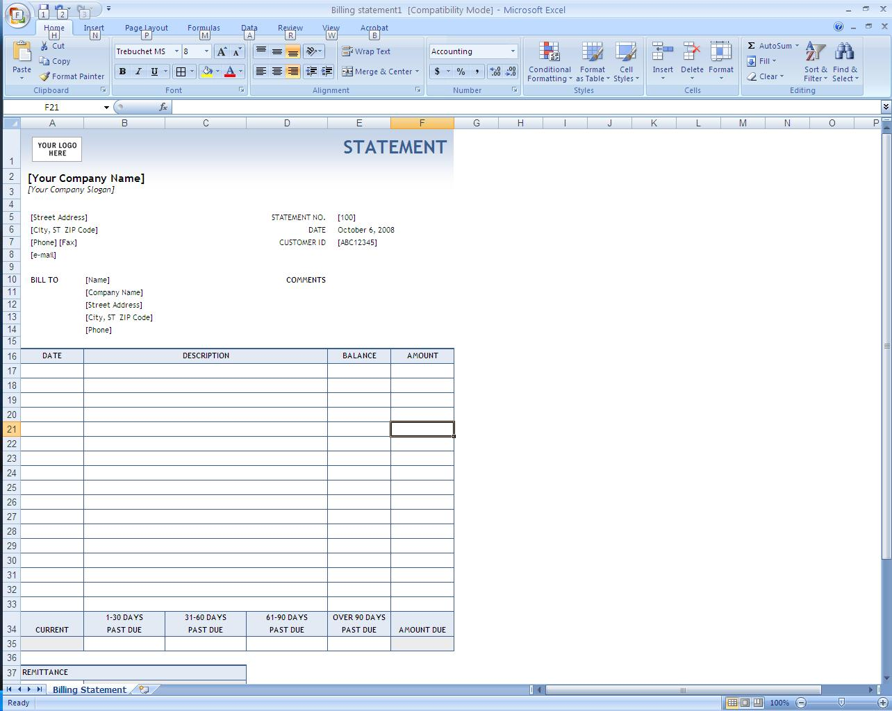 making invoices in excel