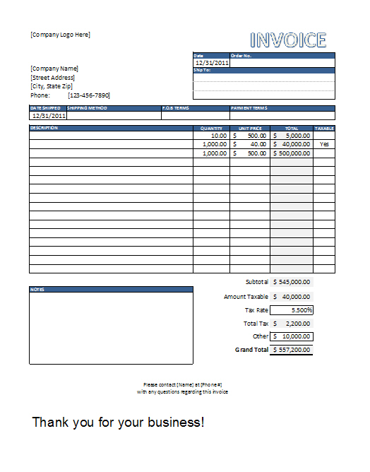 Billing Invoice Template Excel Invoice Example