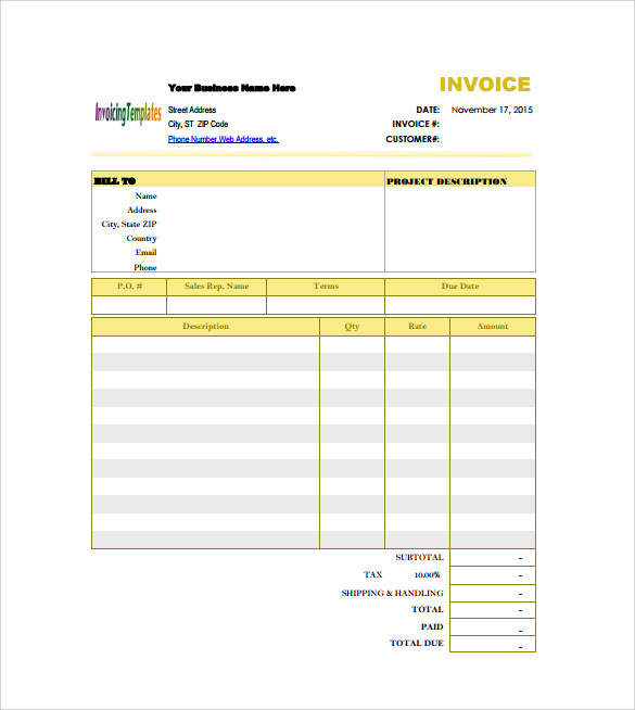 Billing Invoice Template Free Download – Free Invoices Download