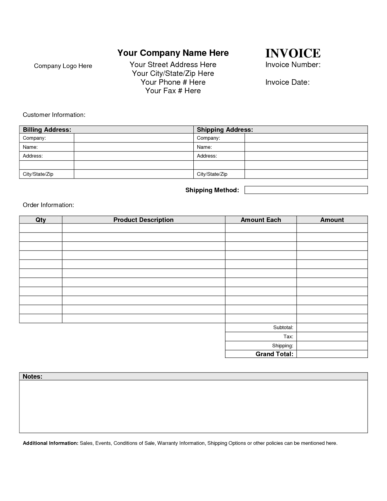 Blank Invoice Template U2013 50+ Documents In Word, U2026