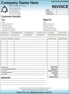 car sales invoice template excel