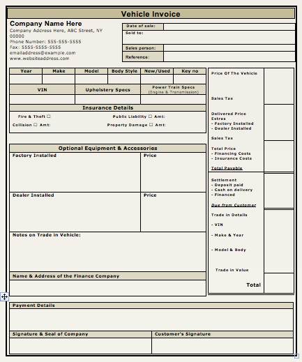 Car Sales Invoice Template Excel ⋆ Invoice Template