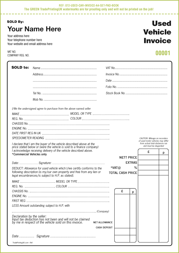 Car Sales Invoice Template Free | Free Business Template