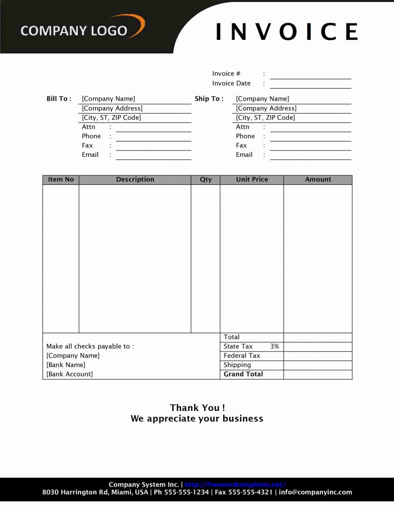 cash invoice template