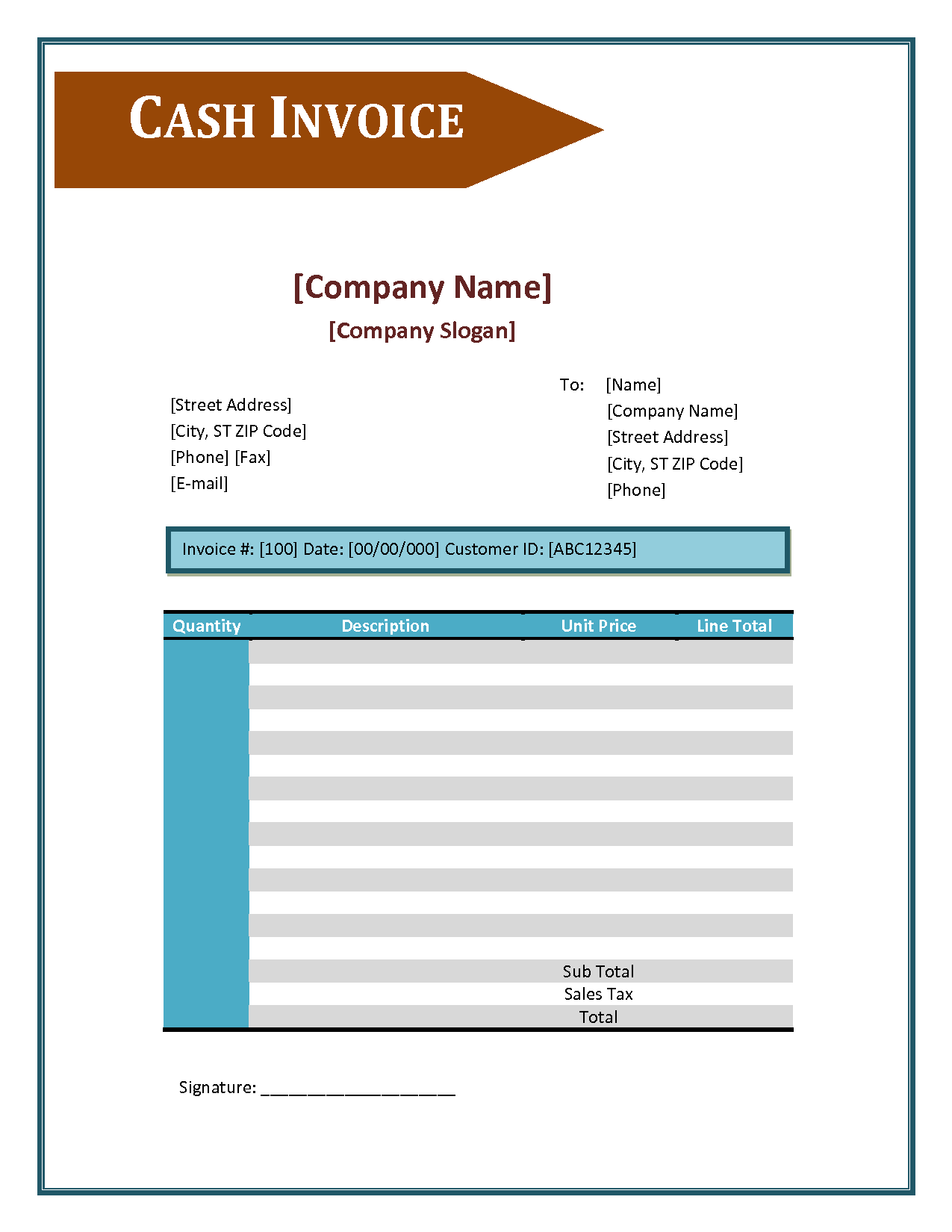 Cash Invoice Template – Cash Sale Invoice Template