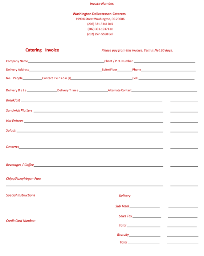 catering invoice template | invoice example, Invoice templates
