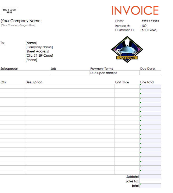 Catering Invoice Template Excel Invoice Example - Pages invoice templates