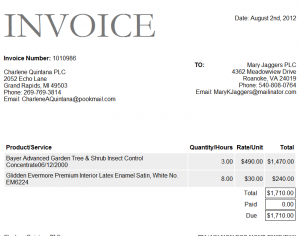 Example Invoice Template  Sample Invoice Excel