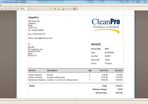 Cleaning Invoice Template Uk Example
