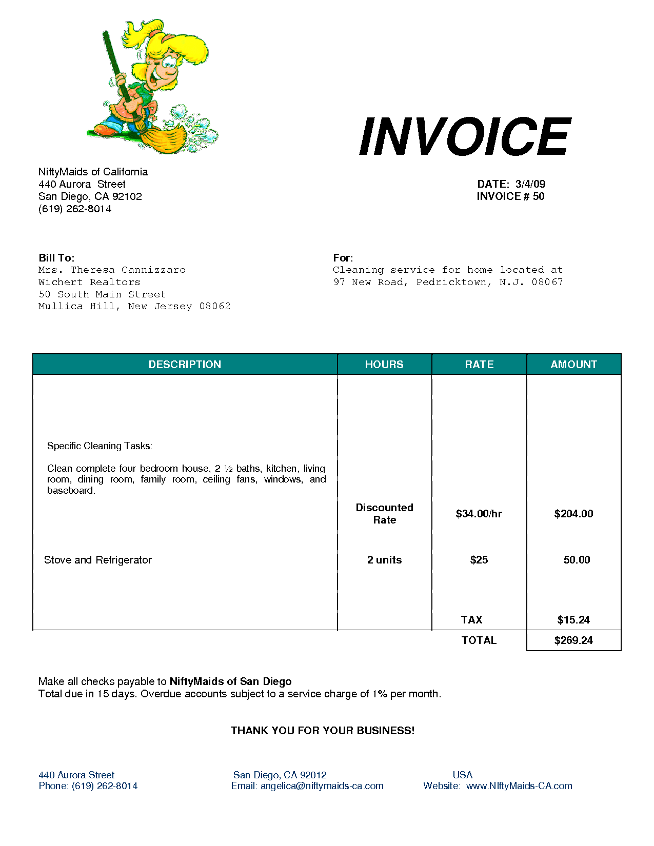Business Invoice Novaondafm - Maintenance invoice template free