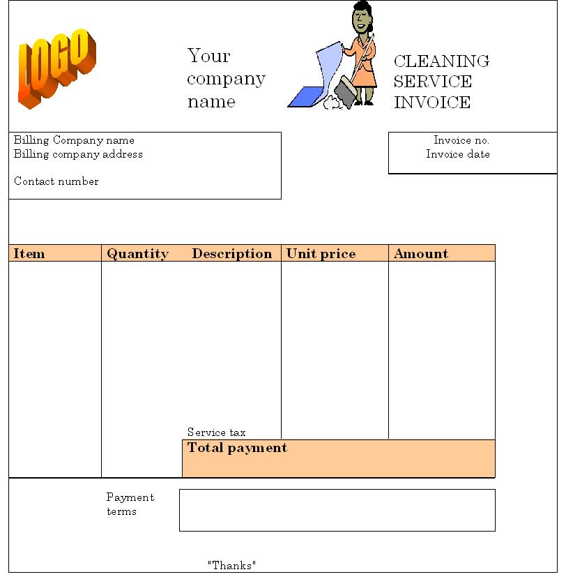 Cleaning Invoice Template Word Invoice Example - Free invoices to print for service business