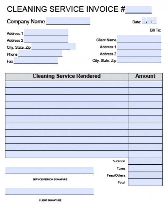 Cleaning Invoice Template Word – Service Invoice Templates