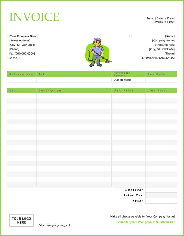 Cleaning Invoice Template Word  Free Service Invoice