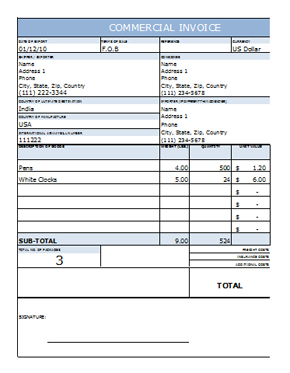 Commercial Invoice Template In Excel