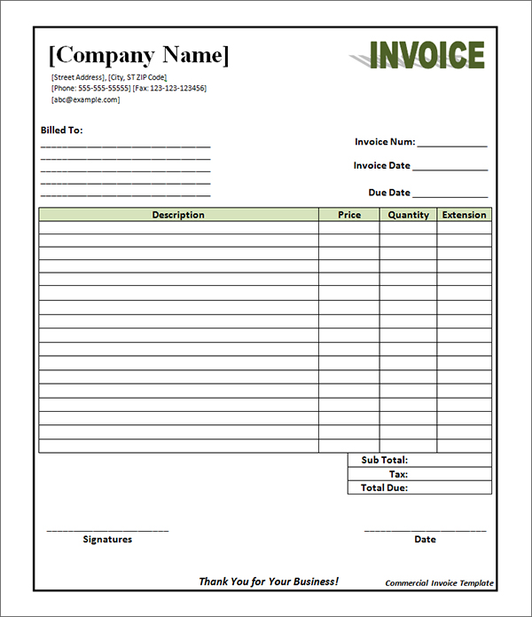 Commercial Invoice Template Pdf Invoice Example - Commercial invoice template download for service business