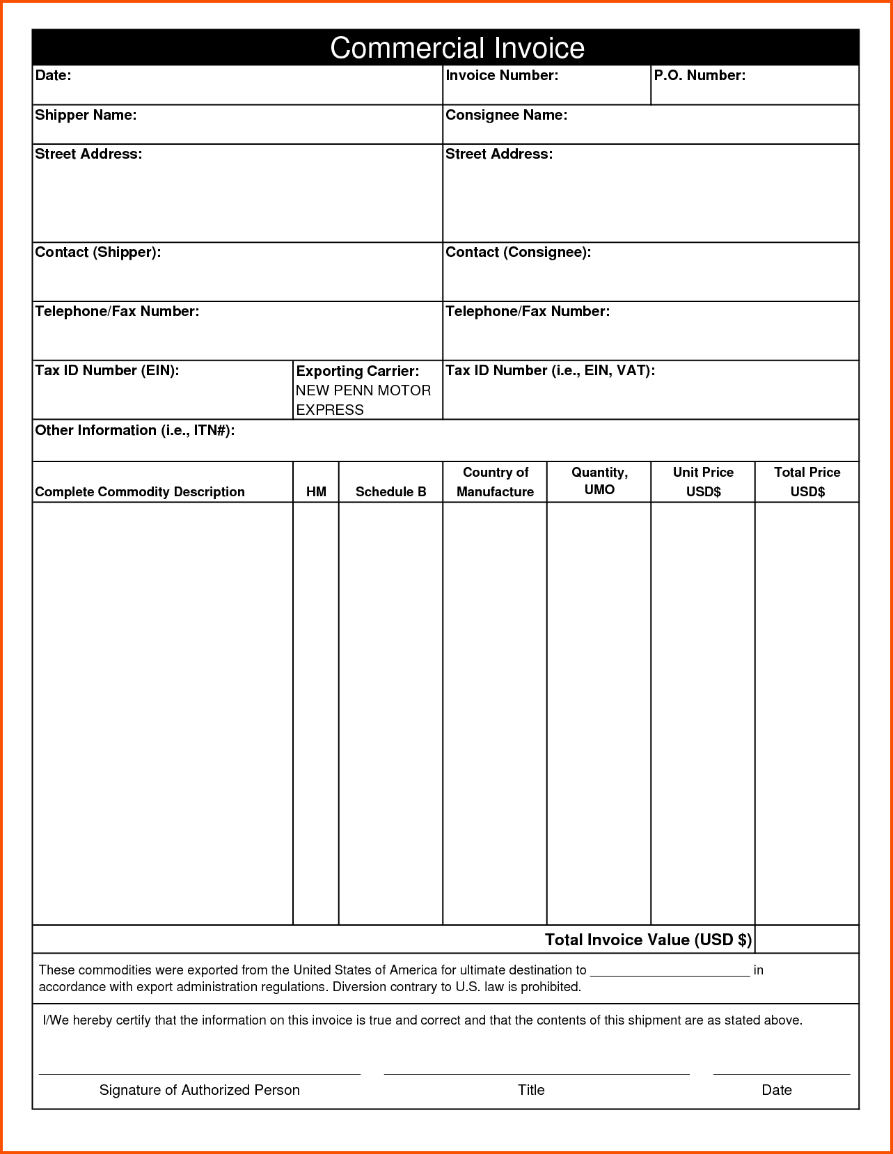 Commercial Invoice Template Pdf Invoice Template 2017