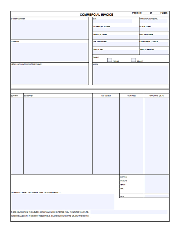 Commercial Invoice Template Pdf Letter Template Business