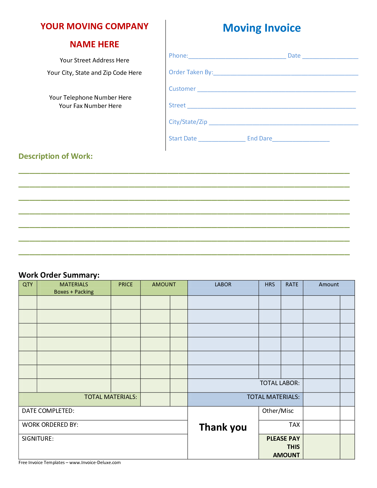 free construction invoice template