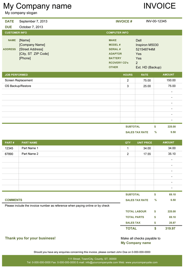 Simple Invoice Template for computer/electronics repair business