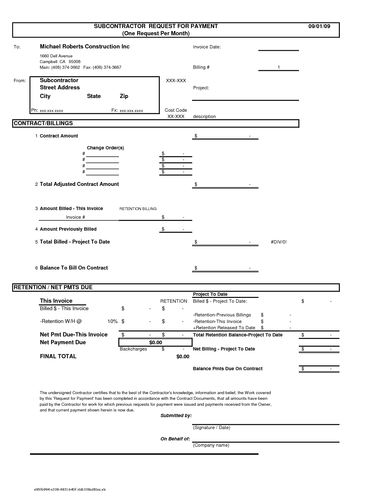 Construction Invoice Template Invoice Example