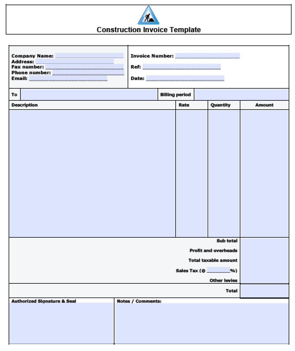 sample invoice format doc