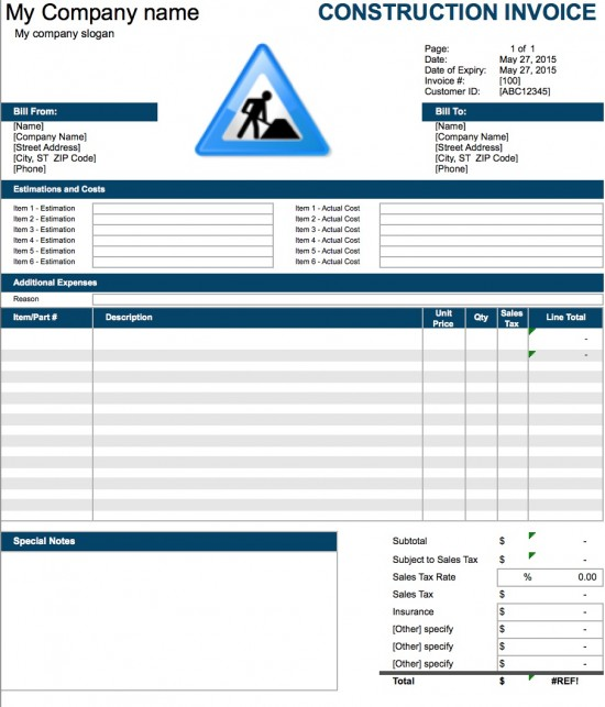 Construction Invoice Template Excel Invoice Example - Create invoice for free for service business