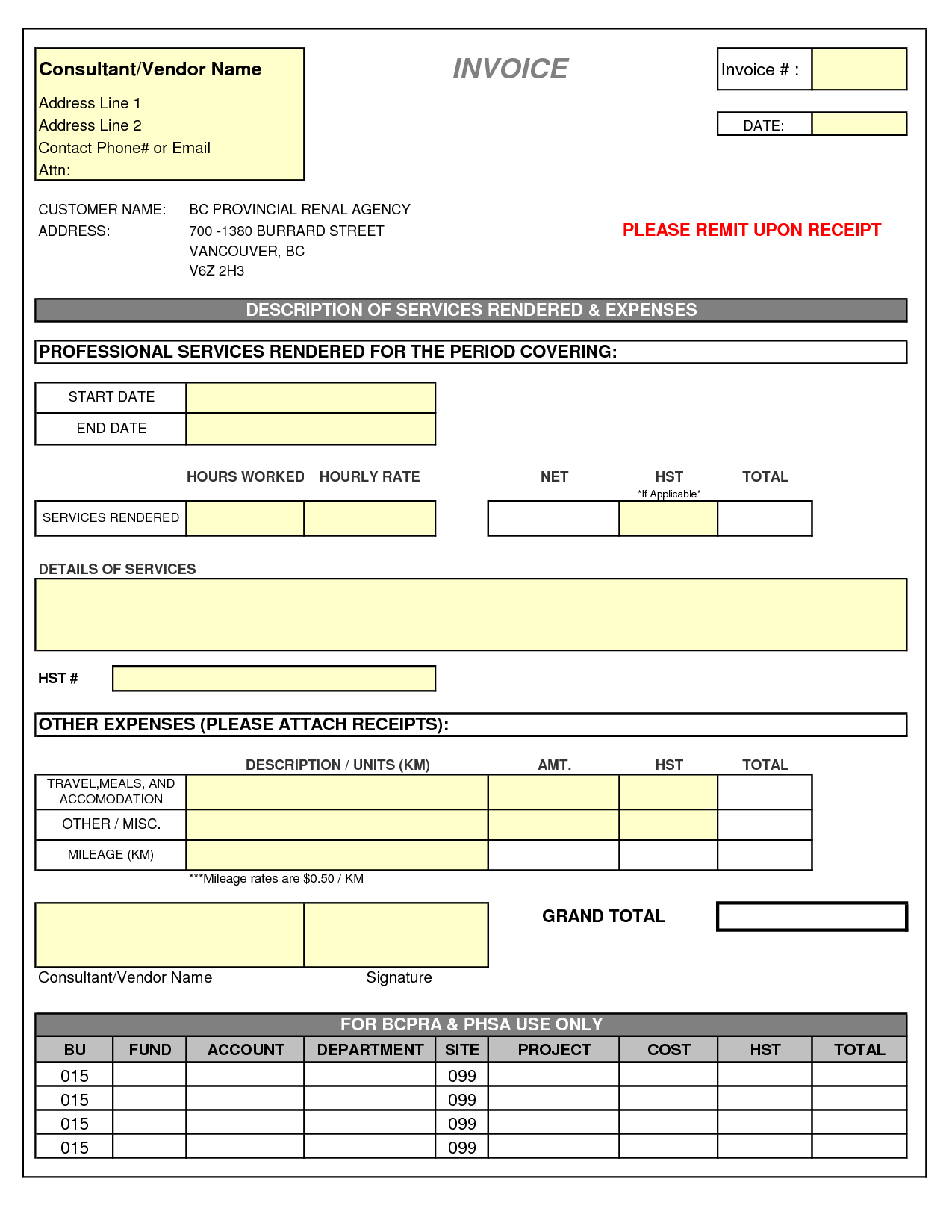 Consultant Invoice Template Doc Invoice Example - Consulting invoice template word for service business
