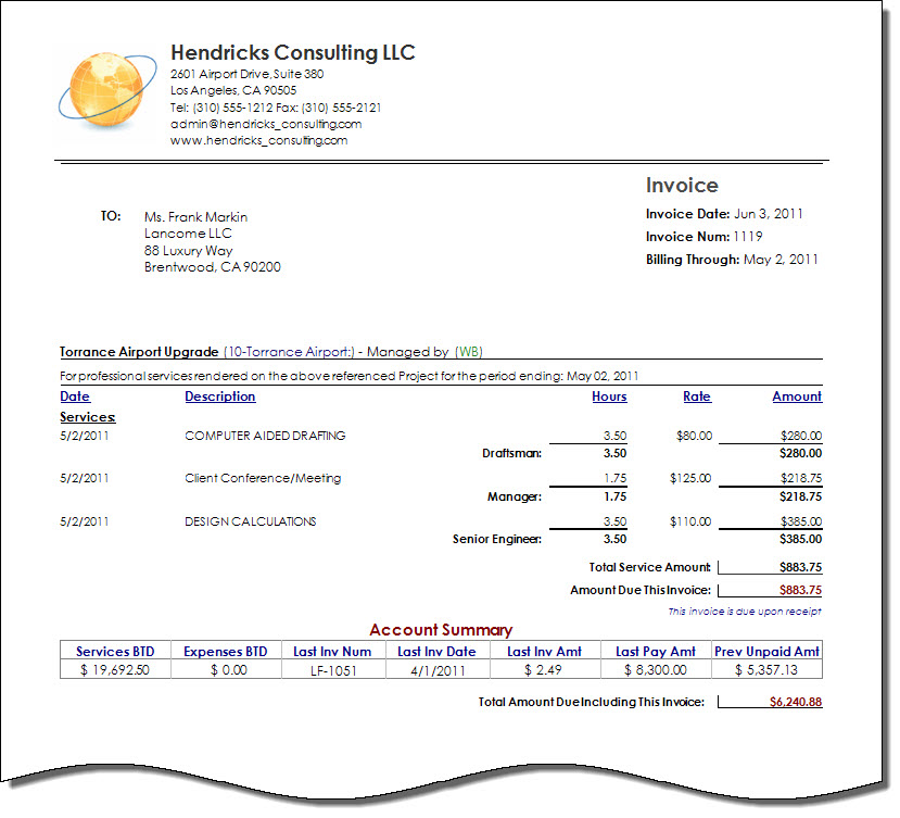 Consultant invoice template invoice example for Consulting fee agreement template
