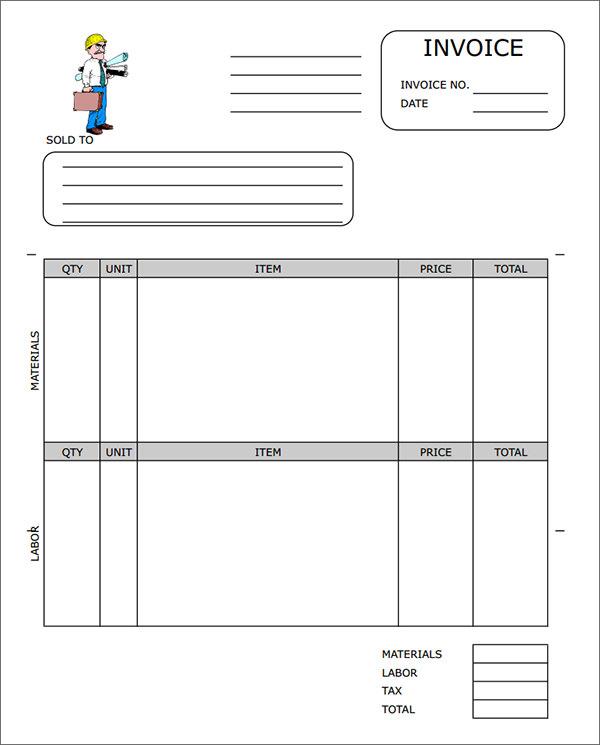 Contractor Invoice Template / Template / Hsbcu