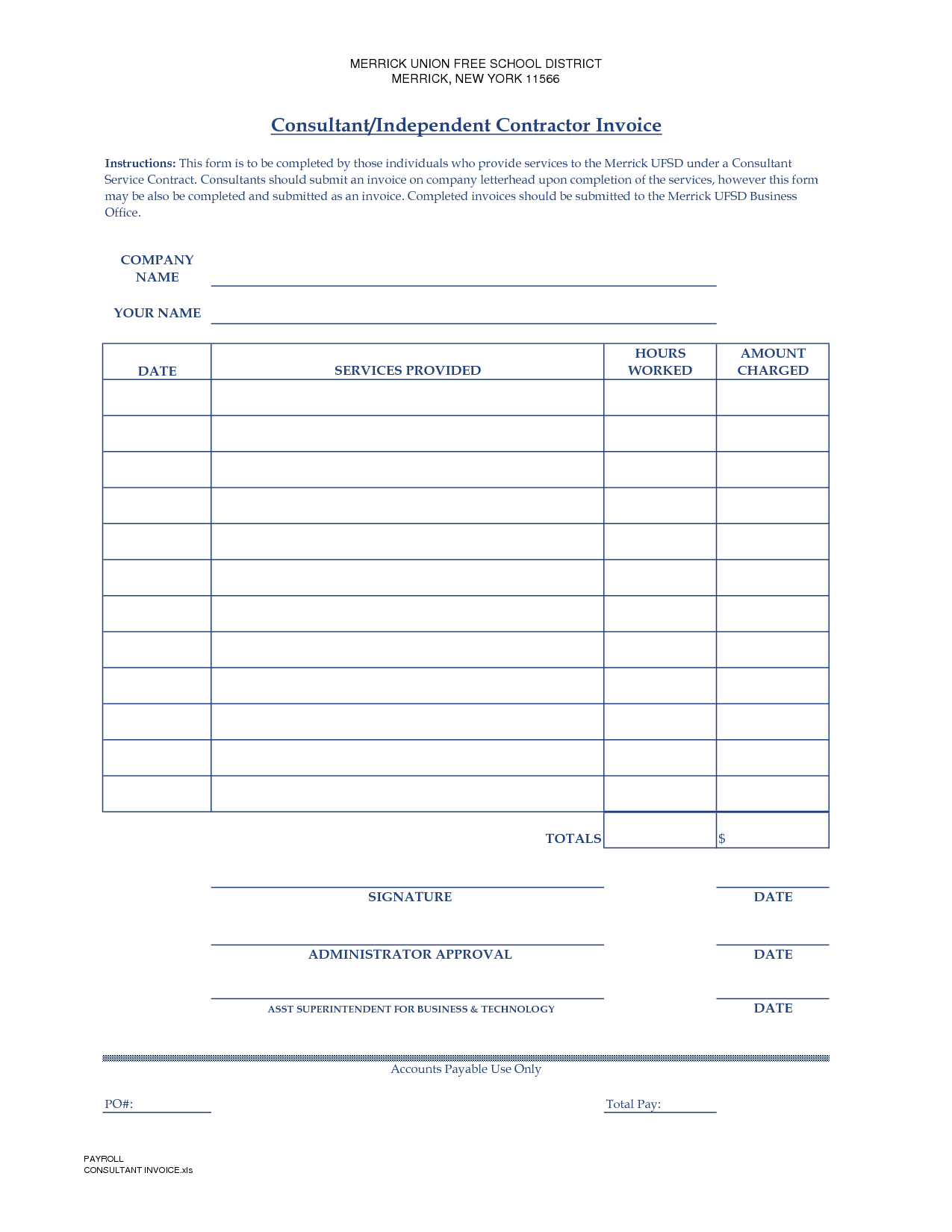 11 Independent Contractor Invoice Template Survey Words Word Free