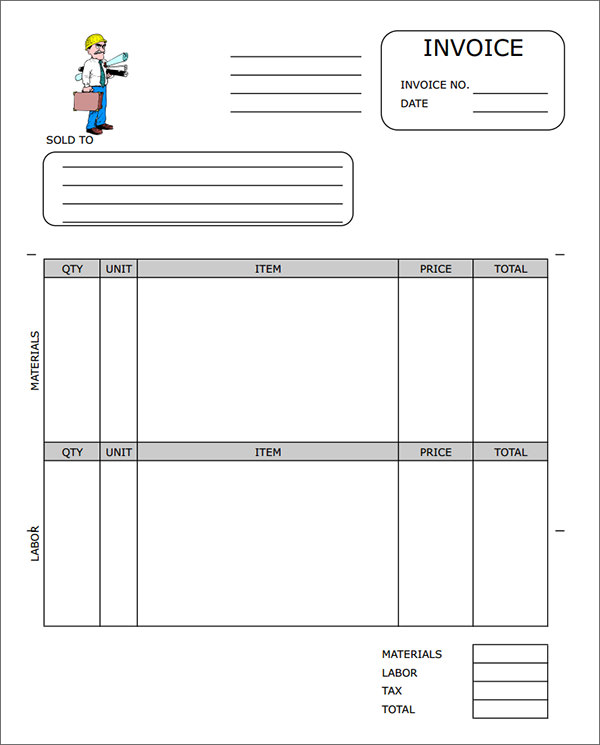 Contractor Invoice Template Word  Invoice Example