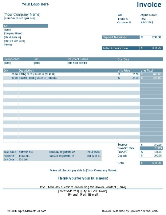 Service Invoice Template With Deposit Deduction Free download