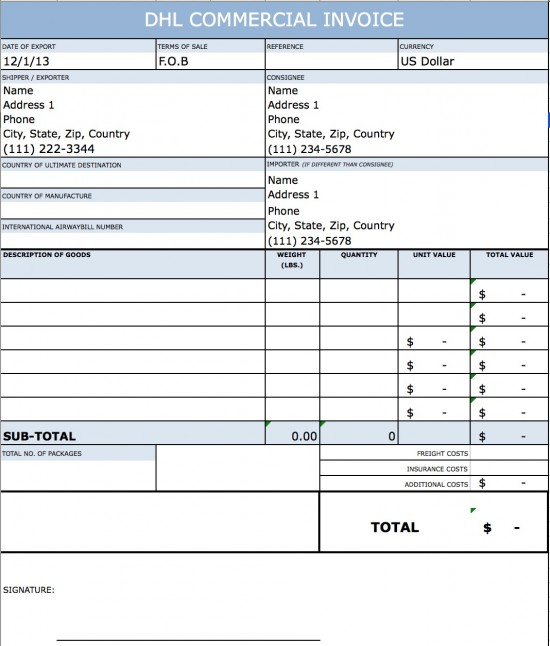 Dhl Commercial Invoice Template Invoice Example - Commercial invoice template free download