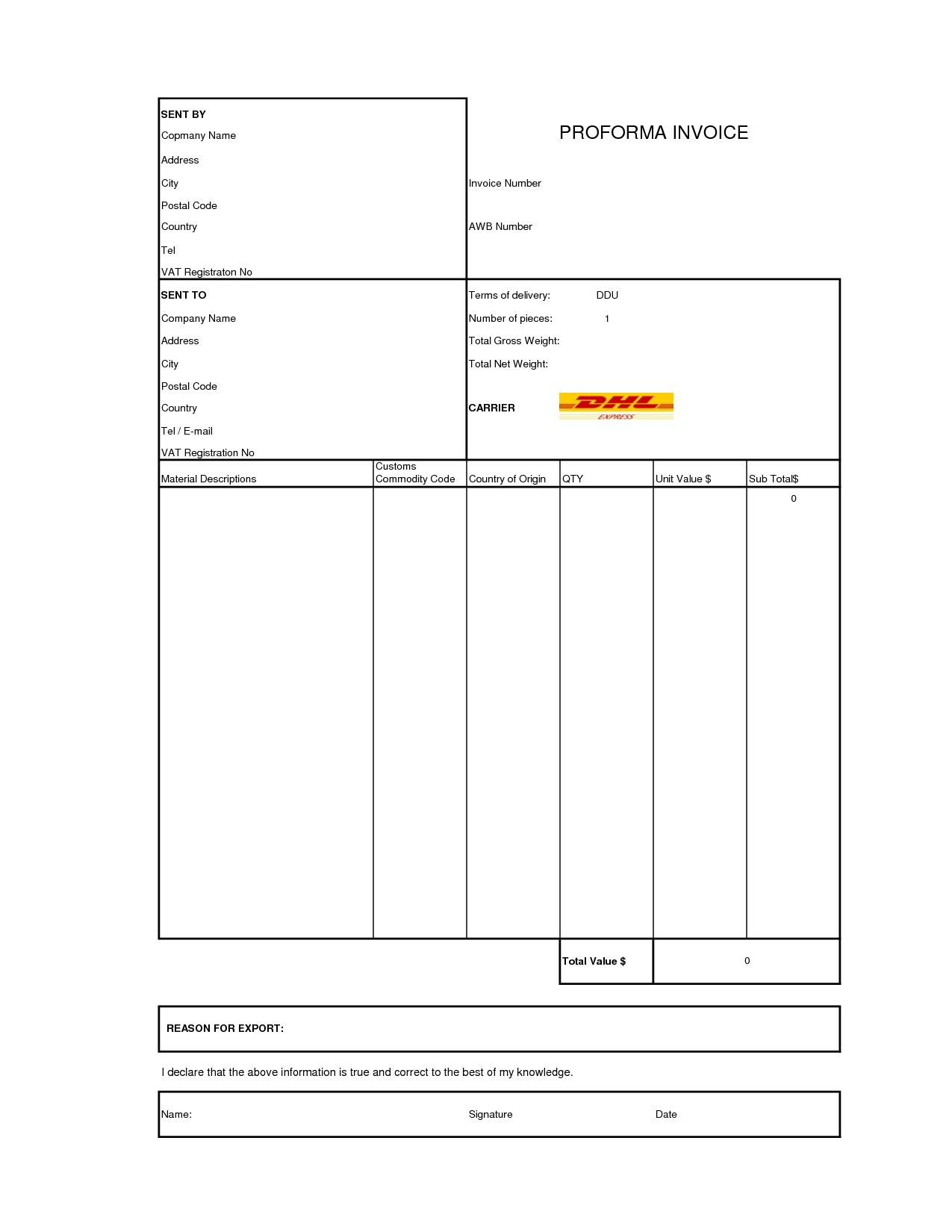 Dhl Invoice Template Invoice Example - Commercial invoice template free download
