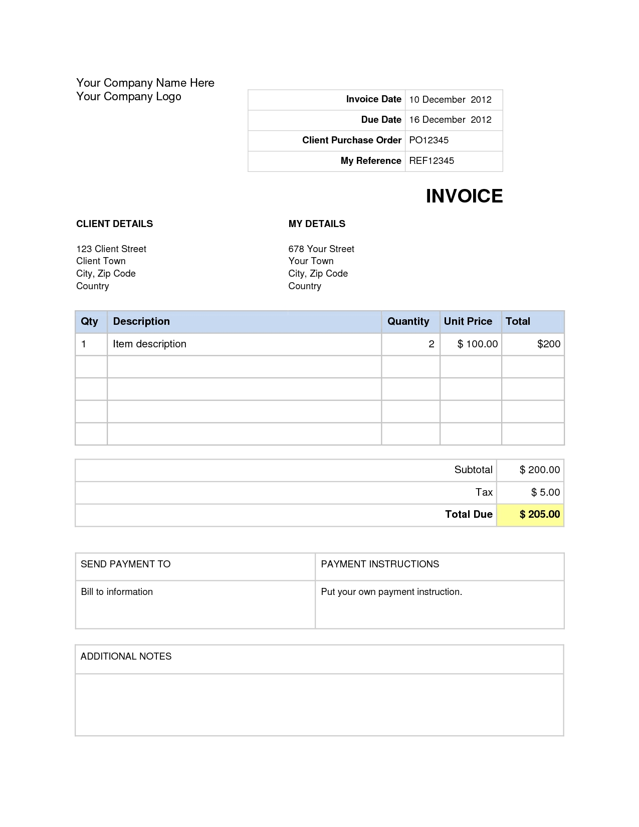 Download Invoice Template Word 2007 invoice example