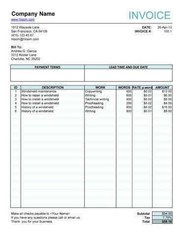 editable invoice
