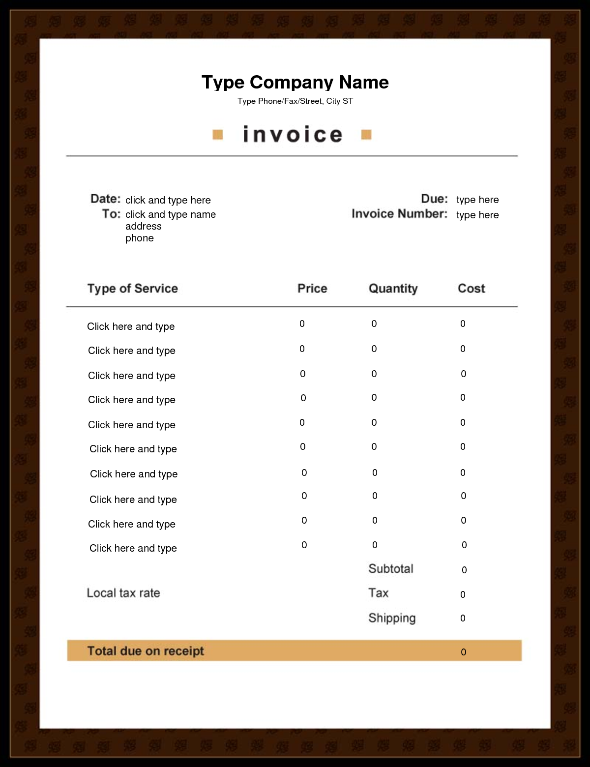 Editable Invoice | April Calendar | April Calendar