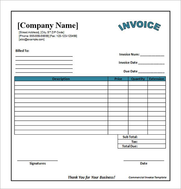 Commerical Invoice Template Insssrenterprisesco - Free sample invoice templates