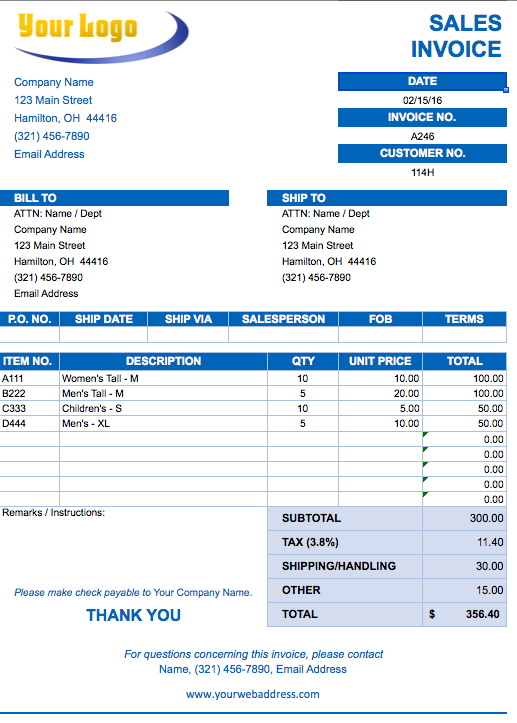 Excel Invoice Templates Free Download | Business Plan Template