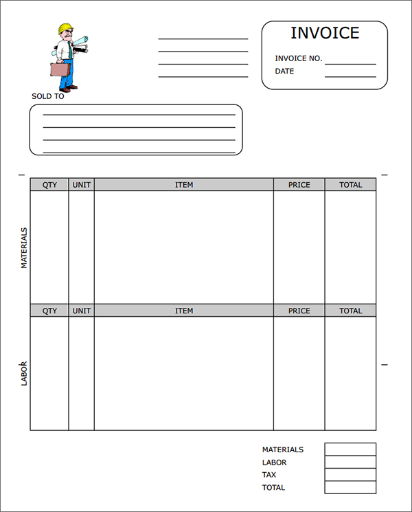 Free Construction Invoice Template Word Invoice Example - Contractor invoice template word