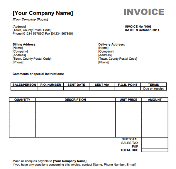 Invoice Template Design Free Download ~ Dhanhatban.info