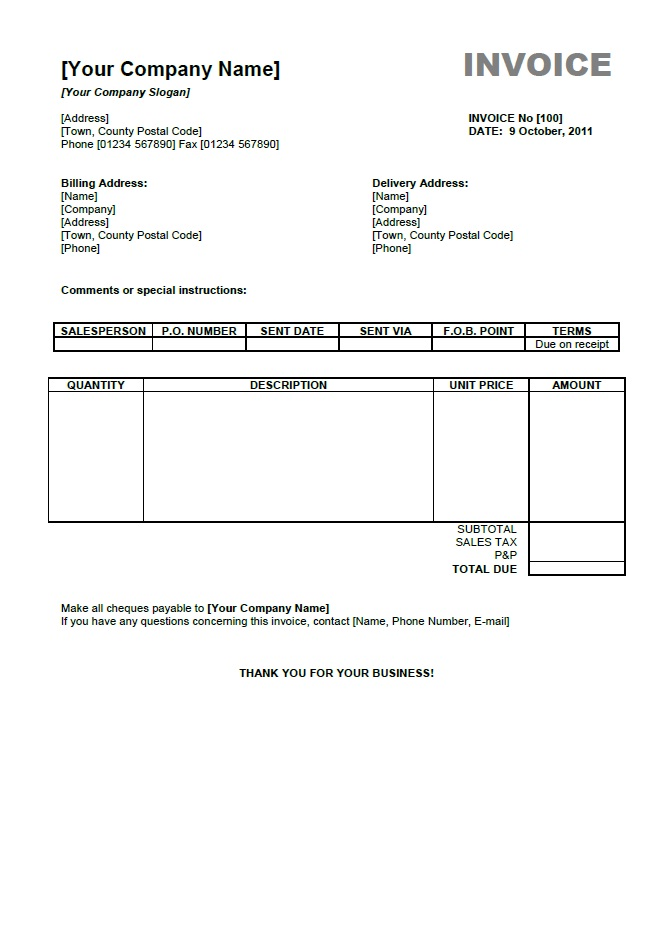 Invoice Template Pdf Free | printable invoice template
